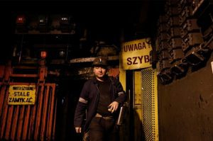 A mine worker exits the now-defunct Wieczorek coal mine in Katowice, Poland