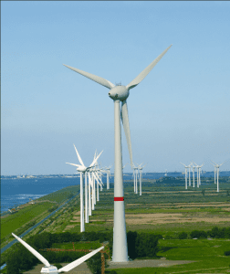 An onshore wind farm operated by EWE in Emden in Lower Saxony, North Germany