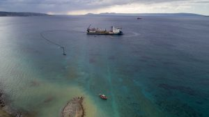 A snapshot of Hellenic Cables laying the submarine cable between Pelopponnese and the island of Crete, Credit: IPTO website