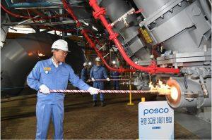 POSCO CEO Jeong-Woo Choi lighting POSCO's revamped sustainable Gwangyang No.3 Blast Furnace, Credit: POSCO website