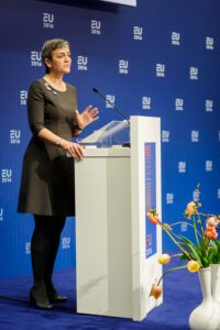 Margrethe Vestager, who leads the European Commission's competition department speaking at an event. Credit: Paul Voorham
