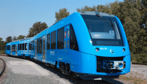 The world's first passenger train powered by fuel cells and hydrogen, the German Coradia iLint manufactured by Alstom. Linde Engineering, a German gas company is building fuelling stations for these trains in Germany. Credit: Linde Engineering website
