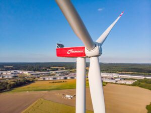 A view of Nordex's N149 wind turbine which is based on the Delta 4000 platform, highly opular in wind farms across Germany. Credit: Nordex website